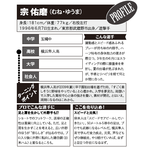 《野球太郎ストーリーズ》オリックス2014年ドラフト2位、宗佑磨。甲子園未出場ながら名を轟かせた俊敏内野手